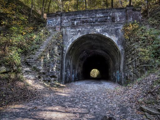 abandoned Moonville tunnel in autumn