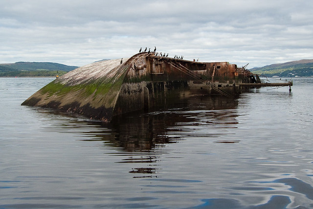 MV Captayannis tipped over. Abandoned ship around the world located in Scotland.