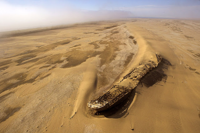 Eduard Bohlen in the desert abandoned ships around the world Located in South Africa