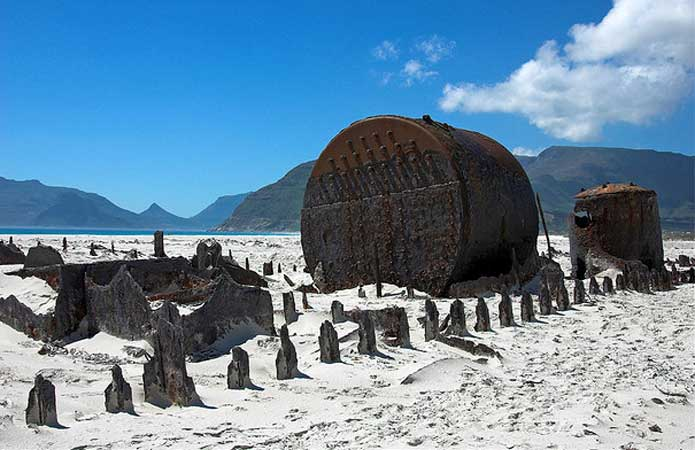 SS Kakapo buried in the sand