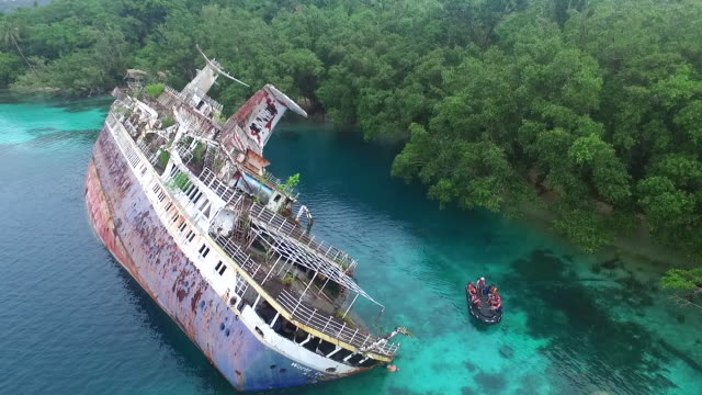 World Discoverer Shipwreck tipped over