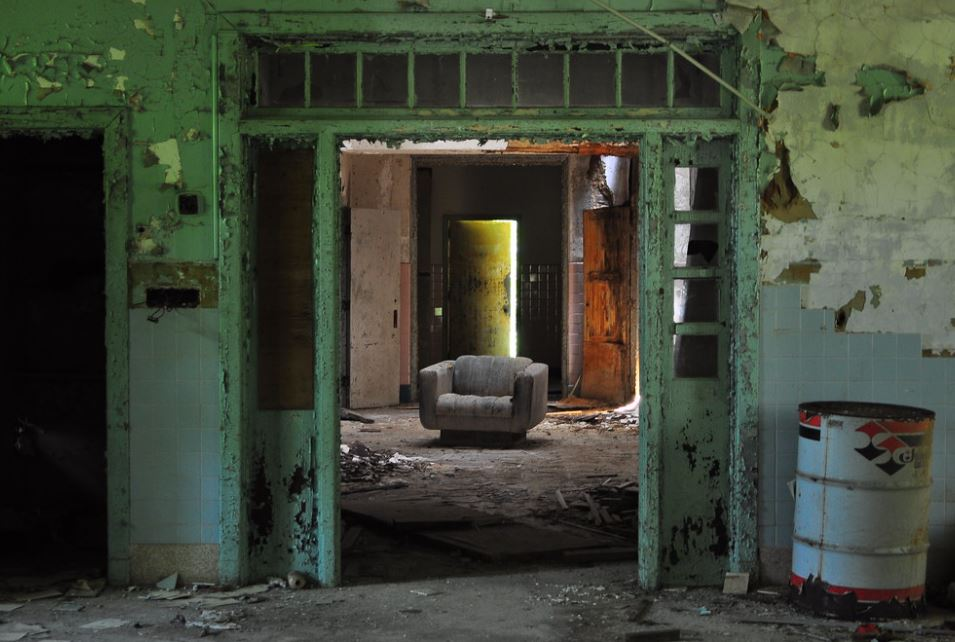 Interior of the abandoned Forest Haven Asylum